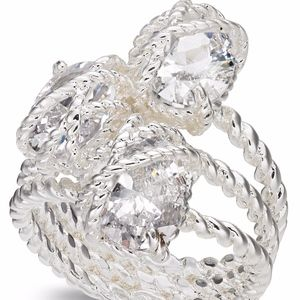 ✨ Silver Crystal Three Stone Wrapped Twisted Rope